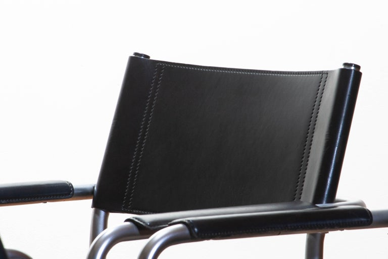 1970s, Set of Four MG5 Black Leather Dining / Office Chairs by Matteo Grassi 1
