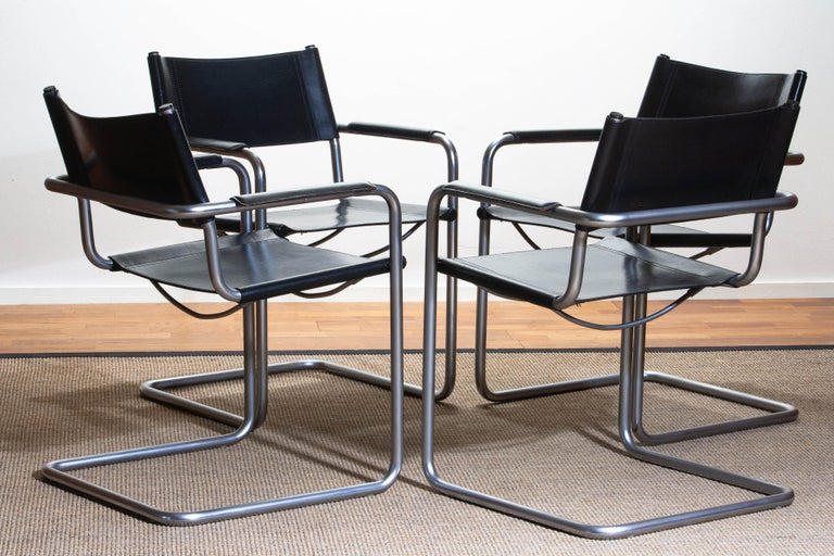 1970s, Set of Four Mg5 Black Leather Dining or Office Chairs by Matteo Grassi 6