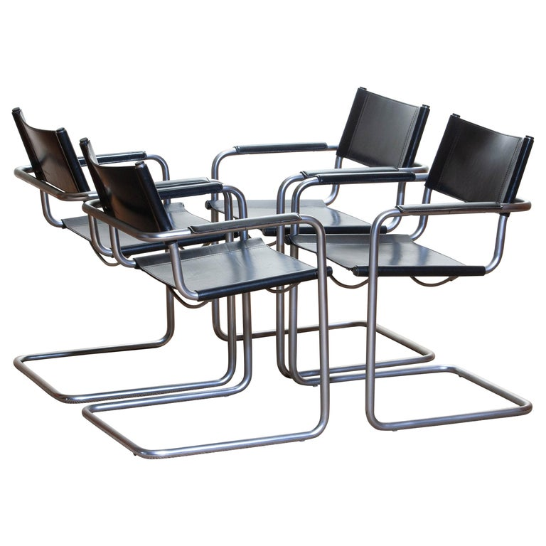 Italian 1970s, Set of Four Mg5 Black Leather Dining or Office Chairs by Matteo Grassi
