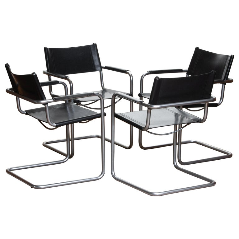 Late 20th Century 1970s, Set of Four Mg5 Black Leather Dining or Office Chairs by Matteo Grassi