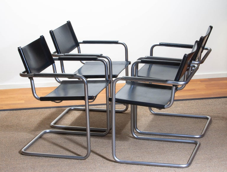1970s, Set of Four Mg5 Black Leather Dining or Office Chairs by Matteo Grassi 1