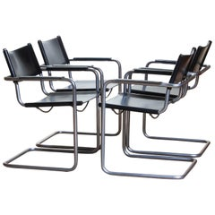 1970s, Set of Four Mg5 Black Leather Dining or Office Chairs by Matteo Grassi