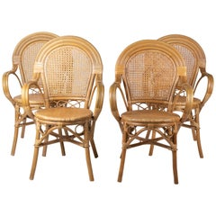1970s Set of Four Spanish Bamboo and Wicker Armchairs