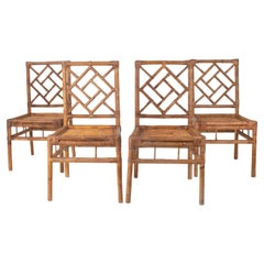 1970s Set of Four Spanish Bamboo and Wicker Chairs