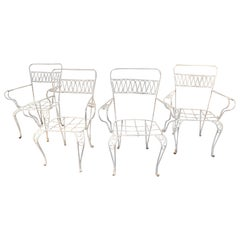 1970s Set of Four Spanish White Painted Iron Garden Chairs