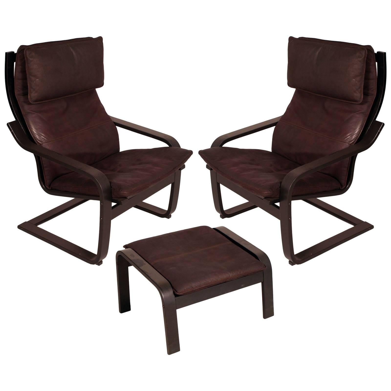 """1970s Set of Leather Cantilever Chairs with Footrest """"Poäng by Noboru Nakamura"""