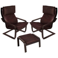 "1970s Set of Leather Cantilever Chairs with Footrest ""Poäng by Noboru Nakamura"