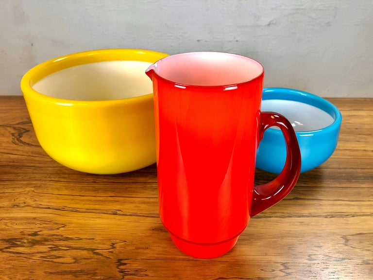Scandinavian Modern 1970s Set of Pitcher and Bowls in Glass by Michael Bang for Holmegaard For Sale