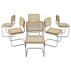 1970s Set of Six Chrome Plated/Wood Italian Dining Chairs