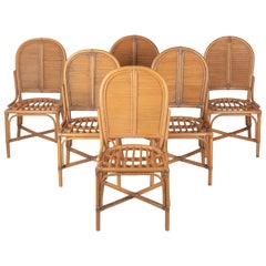 1970s Set of Six Spanish Bamboo and Wicker Chairs