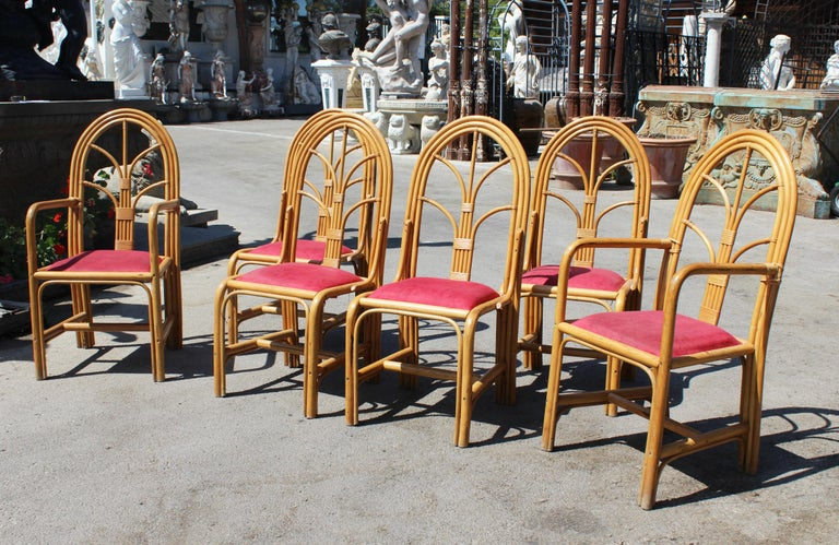 1970s set of six Spanish bamboo dining chairs. Four chairs and two armchairs.