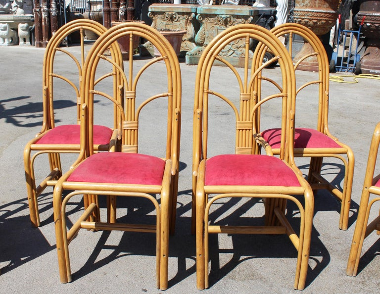 1970s Set of Six Spanish Bamboo Dinning Chairs In Good Condition For Sale In Malaga, ES