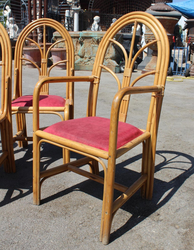 20th Century 1970s Set of Six Spanish Bamboo Dinning Chairs For Sale