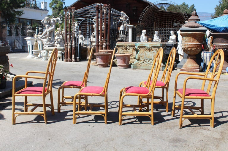 1970s Set of Six Spanish Bamboo Dinning Chairs For Sale 1