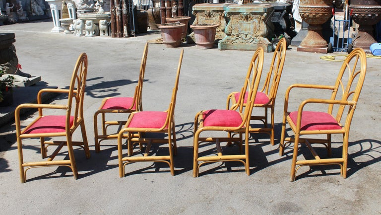 1970s Set of Six Spanish Bamboo Dinning Chairs For Sale 2