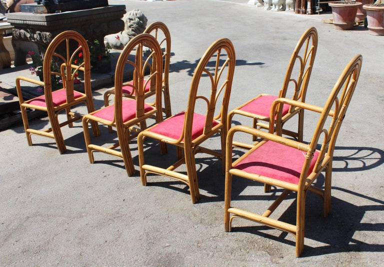 1970s Set of Six Spanish Bamboo Dinning Chairs For Sale 3