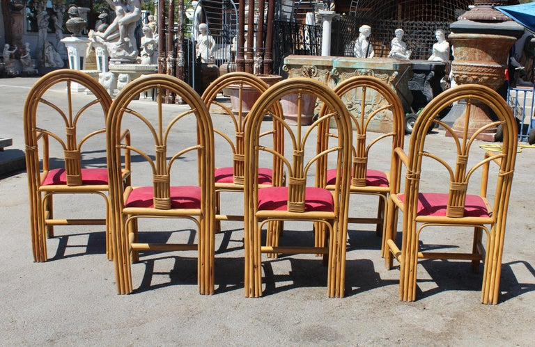 1970s Set of Six Spanish Bamboo Dinning Chairs For Sale 4
