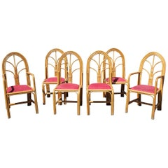 1970s Set of Six Spanish Bamboo Dinning Chairs