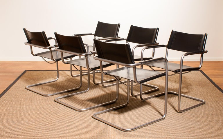 Mid-Century Modern 1970s, Set of Six Tubular Steel and Black Leather Dining Chairs by Matteo Grassi