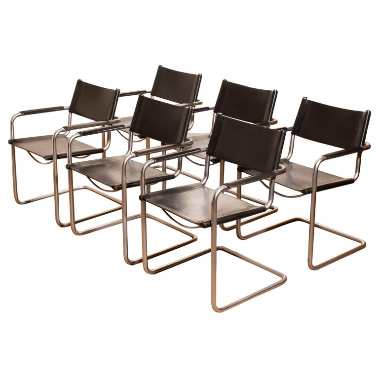 Italian 1970s, Set of Six Tubular Steel and Black Leather Dining Chairs by Matteo Grassi