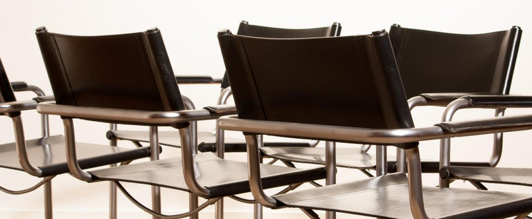 1970s, Set of Six Tubular Steel and Black Leather Dining Chairs by Matteo Grassi 1