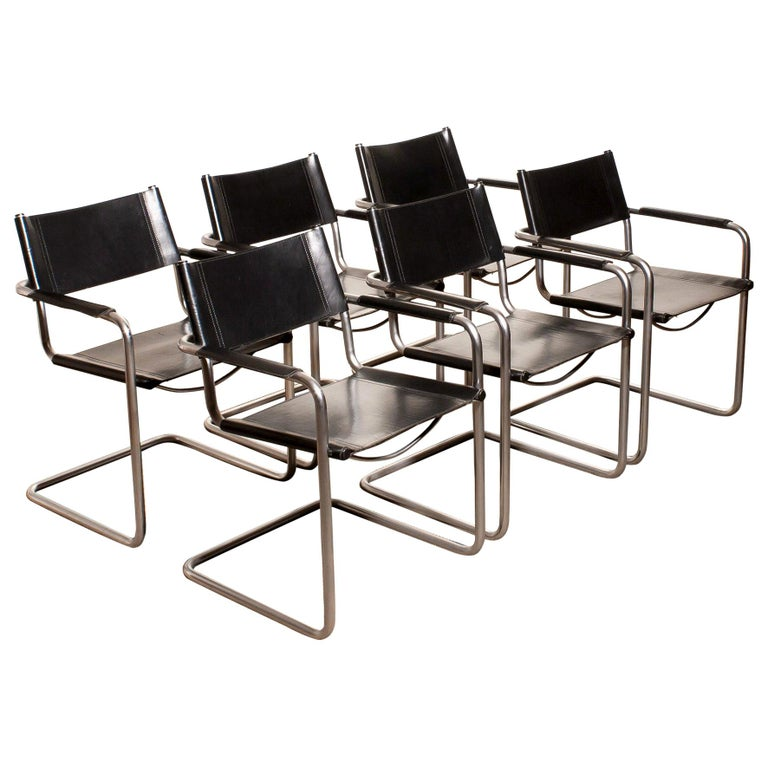 1970s, Set of Six Tubular Steel and Black Leather Dining Chairs by Matteo Grassi