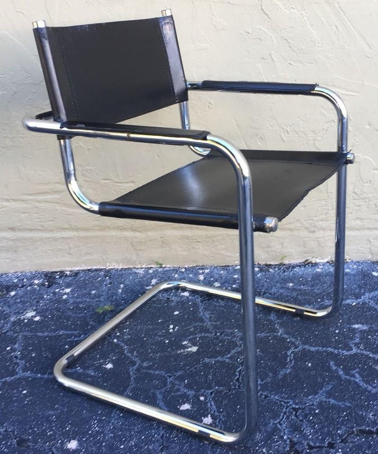 1970s, Set of Six Tubular Steel and Leather Dining Chairs in style Matteo Grassi For Sale 4
