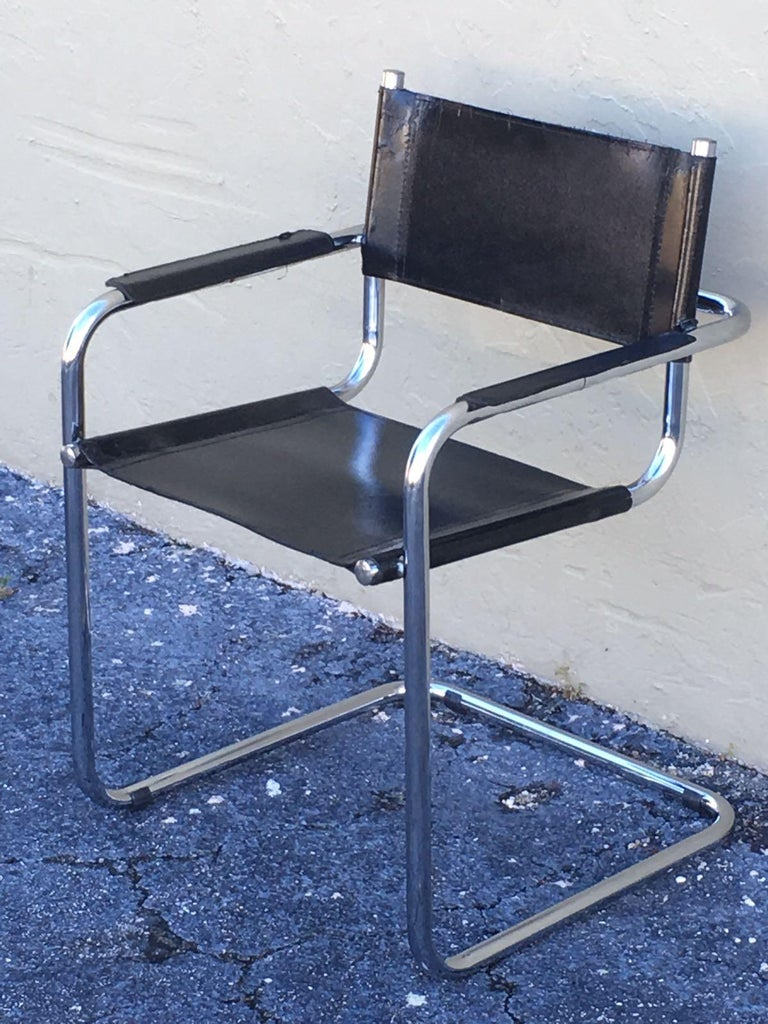 1970s, Set of Six Tubular Steel and Leather Dining Chairs in style Matteo Grassi For Sale 5