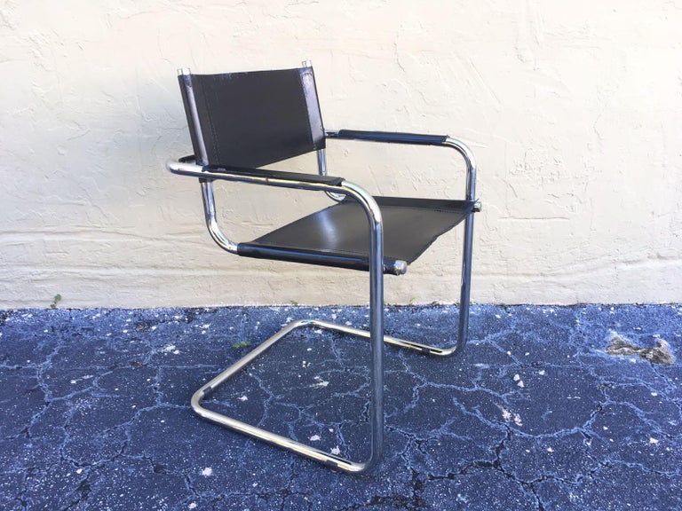 1970s, Set of Six Tubular Steel and Leather Dining Chairs in style Matteo Grassi For Sale 6