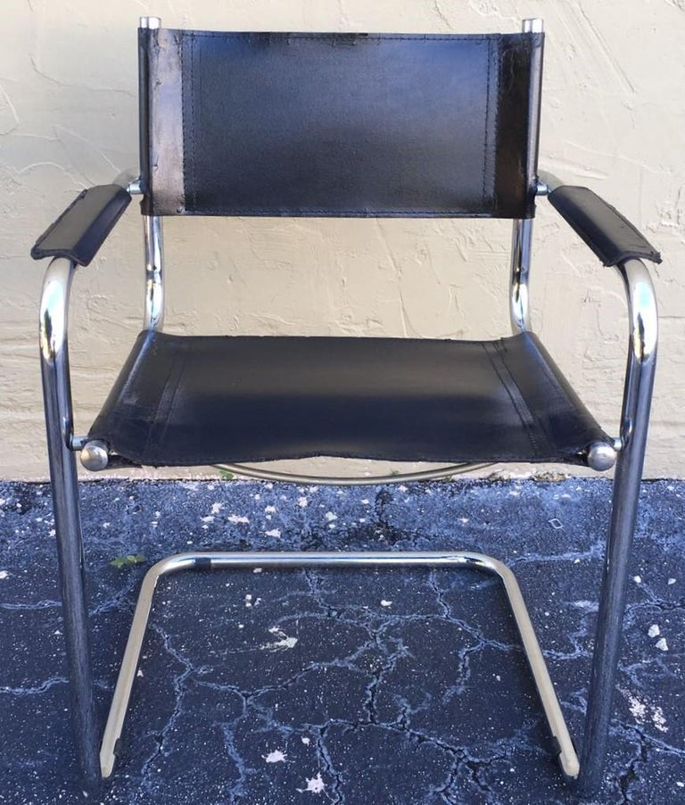 1970s, Set of Six Tubular Steel and Leather Dining Chairs in style Matteo Grassi For Sale 7