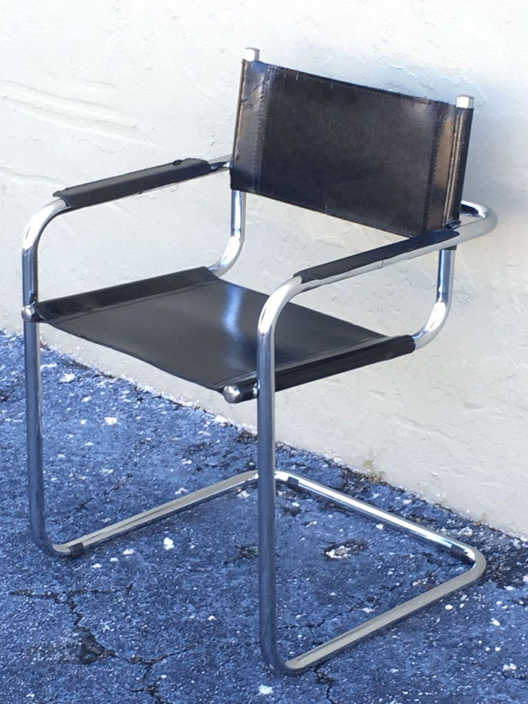 1970s, Set of Six Tubular Steel and Leather Dining Chairs in style Matteo Grassi For Sale 8