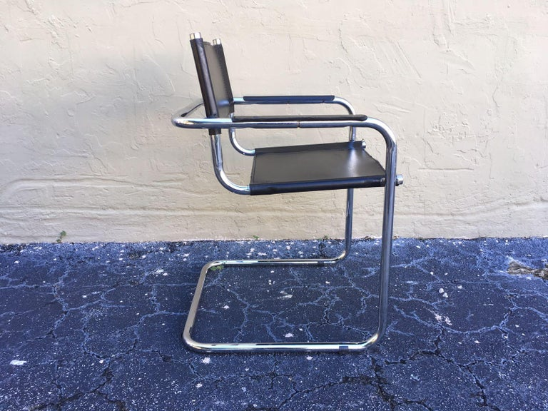 1970s, Set of Six Tubular Steel and Leather Dining Chairs in style Matteo Grassi For Sale 9