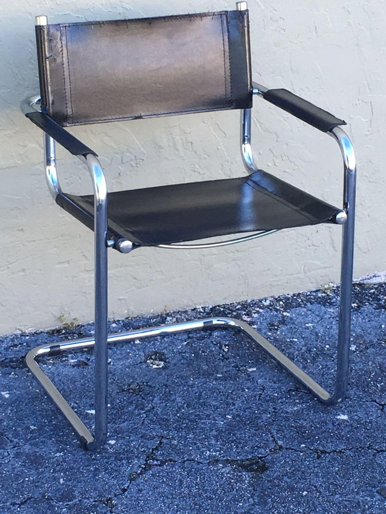 1970s, Set of Six Tubular Steel and Leather Dining Chairs in style Matteo Grassi For Sale 10
