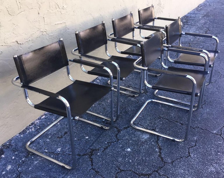 Modern 1970s, Set of Six Tubular Steel and Leather Dining Chairs in style Matteo Grassi For Sale
