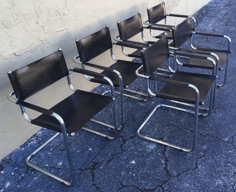 Italian 1970s, Set of Six Tubular Steel and Leather Dining Chairs in style Matteo Grassi For Sale