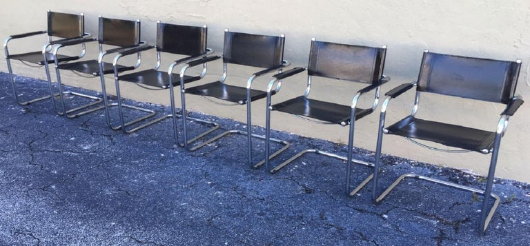 1970s, Set of Six Tubular Steel and Leather Dining Chairs in style Matteo Grassi In Good Condition For Sale In Miami, FL