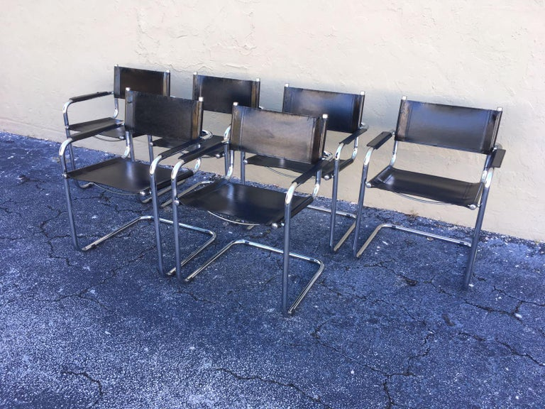20th Century 1970s, Set of Six Tubular Steel and Leather Dining Chairs in style Matteo Grassi For Sale