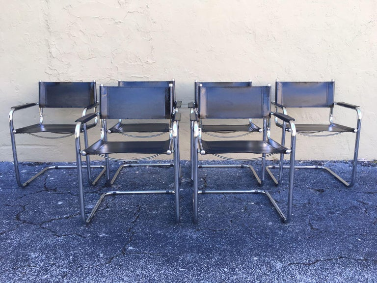 1970s, Set of Six Tubular Steel and Leather Dining Chairs in style Matteo Grassi For Sale 1