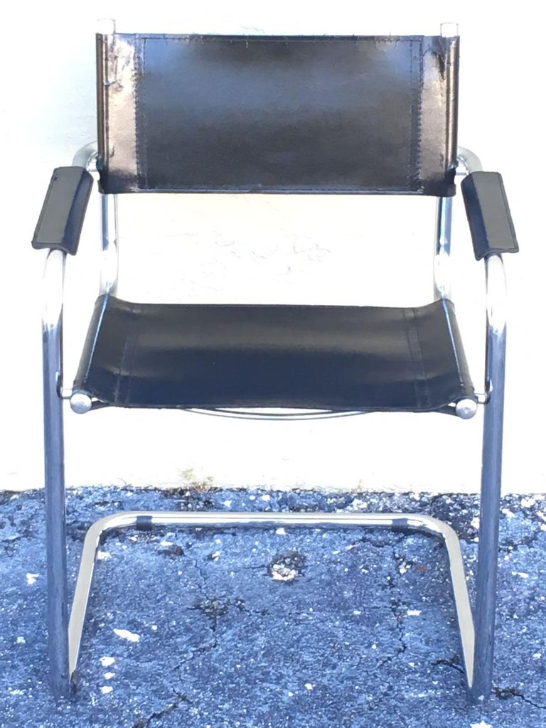 1970s, Set of Six Tubular Steel and Leather Dining Chairs in style Matteo Grassi For Sale 2