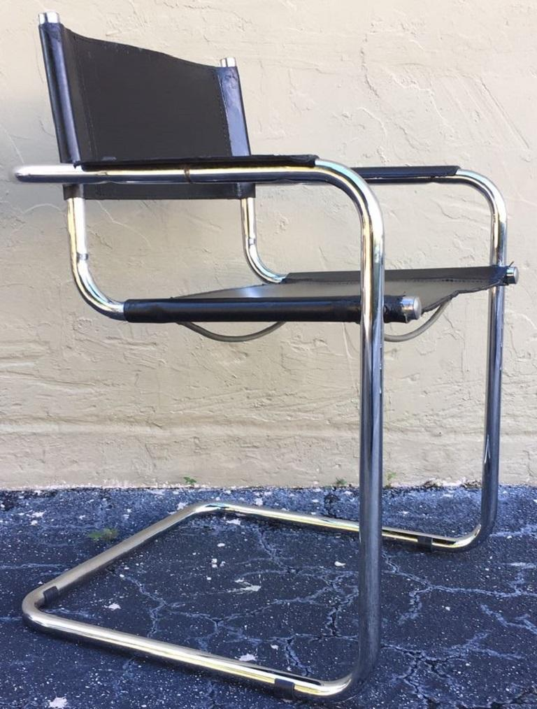 1970s, Set of Six Tubular Steel and Leather Dining Chairs in style Matteo Grassi For Sale 3