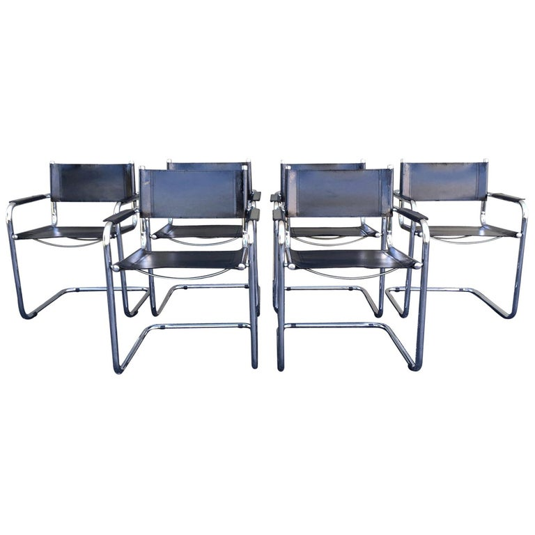 1970s, Set of Six Tubular Steel and Leather Dining Chairs in style Matteo Grassi For Sale