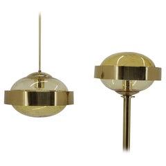 1970s Set of Space Age Brass Floor Lamp and Pendant by Kamenicky Senov, Czechosl