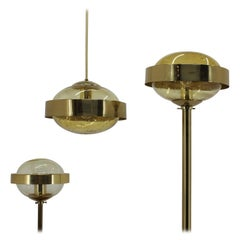 1970s Set of Space Age Brass Floor Lamp, Pendant and Table Lamp by Kamenicky Sen
