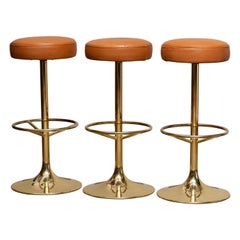 1970s, Set of Three Bar Stools in Brass / Gold by Johanson Design for Markaryd