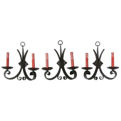 1970s Set of Three Wrought Iron Gothic Sconces with Red Candlesticks