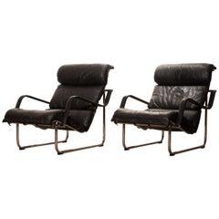 1970s, Set of Two Black Leather 'Remmie' Lounge Chairs, Yrjö Kukkapuro, Finland
