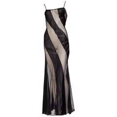 1970s Sexy Sheer Spiral Black Slip Dress