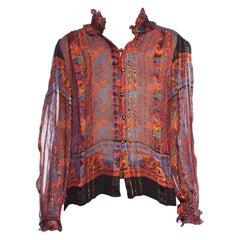 1970's Sheer Silk Chiffon Neiman Marcus Blouse With Lurex