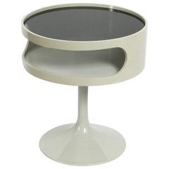 1970s Side Table in Pop Art Space Age Design with Smoked Glass Top by Opal Möbel