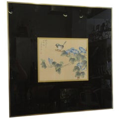 1970s Signed Asian Painting Bird and Flowers
